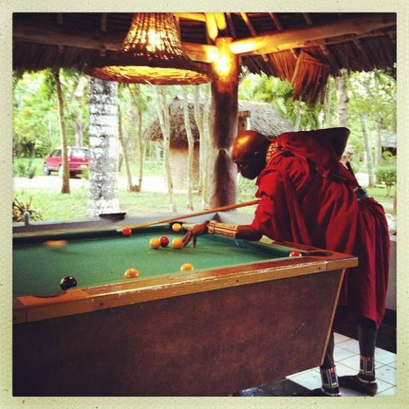 Playing pool with the Masai