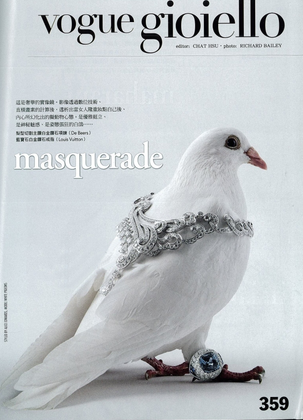 Pigeons wearing jewellery