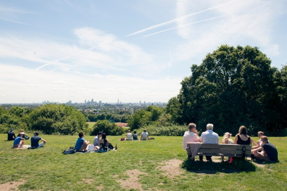 Looking over London from Parliament Hill, Hampstead Heath