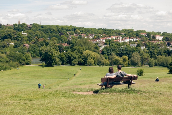 Couple on bench, Parliament Hill, Hampstead Heath, London